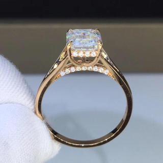 【2カラット 】輝くエメラルド  モアサナイト  ダイヤモンド リング(リング(指輪))