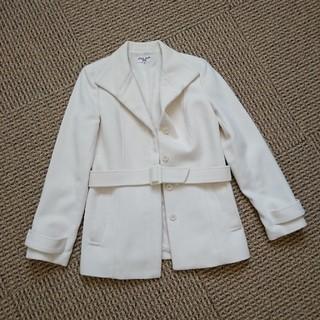 NATURAL BEAUTY BASIC - NATURAL BEAUTY BASIC アンゴラ紺コート オフホワイト M