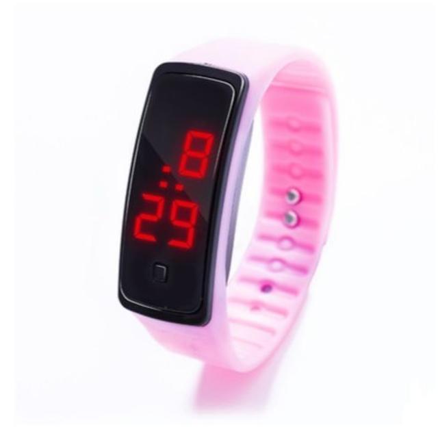 ピンク超軽量 シリコンバンド デジタルウォッチ LED表示腕時計 男女兼用の通販