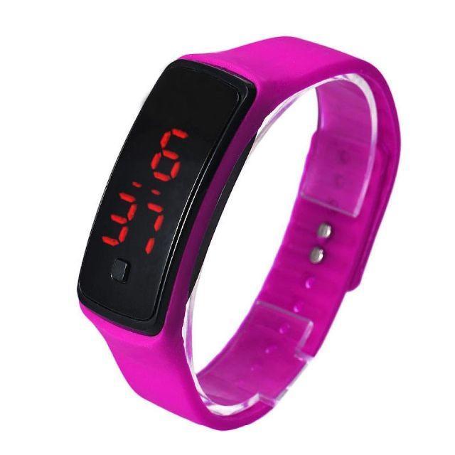 ローズ超軽量 シリコンバンド デジタルウォッチ LED表示腕時計 男女兼用の通販