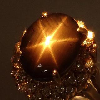ブラックスター サファイア  ダイヤモンド リング・指輪 K18(リング(指輪))