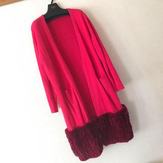 グレースコンチネンタル(GRACE CONTINENTAL)のグレースコンチネンタル の裾ファー 赤ニットカーディガン(ニットコート)