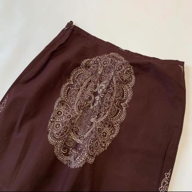 miumiu(ミュウミュウ)のmiumiu  ミュウミュウ スカート ダマスク ロングスカート ブラウン レディースのスカート(ロングスカート)の商品写真