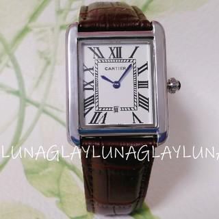 Cartier - 新品 レディース 時計 ブラウン 本革ベルト カルティエ タンクソロ 腕時計