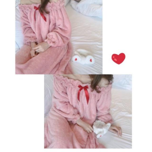 ネグリジェ 冬 ワンピース ロング モコモコ ルームウェア 厚手 暖かい 姫  レディースのルームウェア/パジャマ(パジャマ)の商品写真