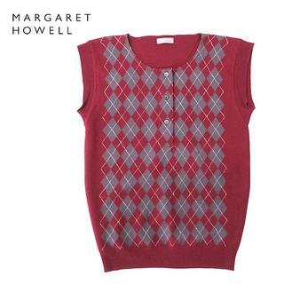 マーガレットハウエル(MARGARET HOWELL)の英国製 マーガレットハウエル アーガイル柄ウールニットベスト(ベスト/ジレ)