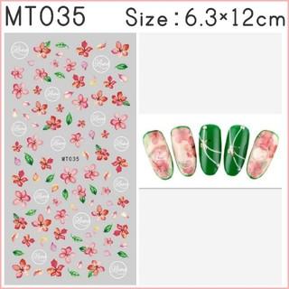 MT035◇ネイルシール 花 フラワー ピンク レッド クリスマス (ネイル用品)