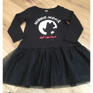 UNIQLO - ミニー長袖 裾フリフリ黒ワンピ