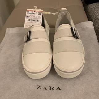 ZARA KIDS - 新品ZARAキッズホワイトレザースリッポン17cm
