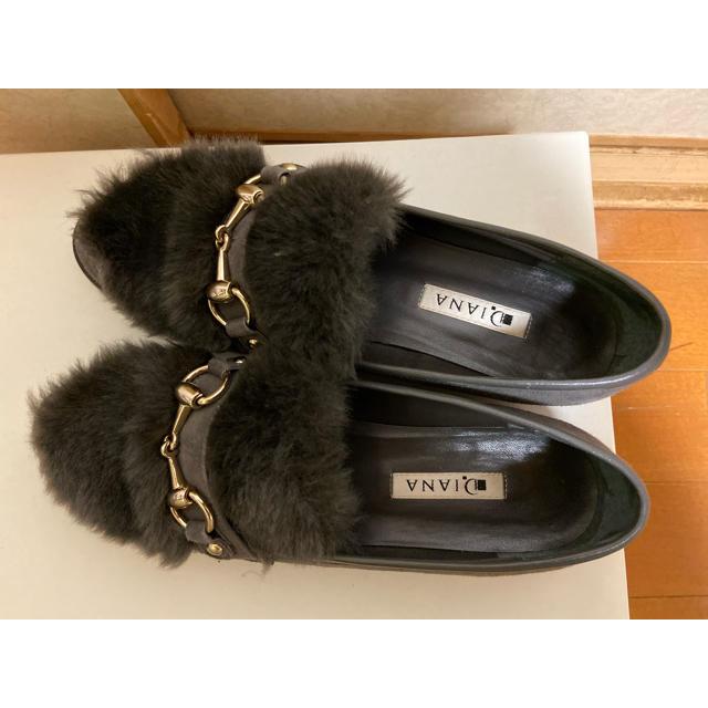 DIANA(ダイアナ)のDIANA フラットシューズ ファー付き レディースの靴/シューズ(その他)の商品写真