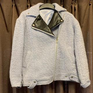 ヘザー(heather)のライダース風くすみブルーの羽織り(ライダースジャケット)