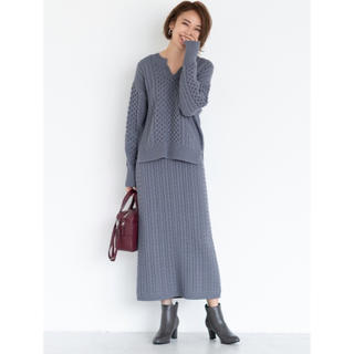 GU - 明日まで値下げ【美品】ケーブルニット ナロースカート ブルー