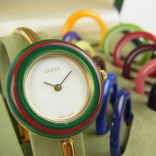 Gucci - グッチ チェンジベゼル 12色 腕時計 バングル ウォッチ 新品電池 動作品