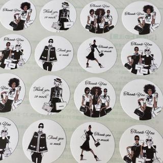 ファッションウィーク柄♡サンキューシール 48枚♡モノトーン モノクロ(カード/レター/ラッピング)