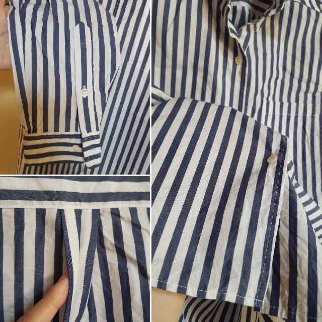 DEUXIEME CLASSE(ドゥーズィエムクラス)の美品  M  ワイヤー入り ストライプシャツ ブラウス レディースのトップス(シャツ/ブラウス(長袖/七分))の商品写真
