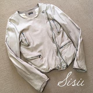 ドゥーズィエムクラス(DEUXIEME CLASSE)のsisii シシ ノーカラー ライダース ジャケット レディース XS(ライダースジャケット)