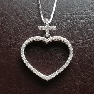 JEWELRY TSUTSUMI - k14WGダイヤモンド0.67ct ハート&クロスネックレス♪