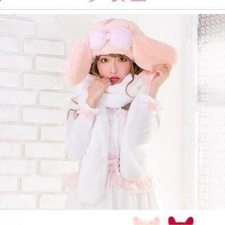 ユメテンボウ(夢展望)のマイメロディ マフラー 帽子 ピンク(マフラー/ショール)