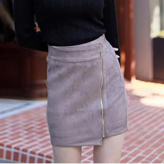 リップサービス(LIP SERVICE)のスエードアシメZIP スカート お取り置き(ひざ丈スカート)