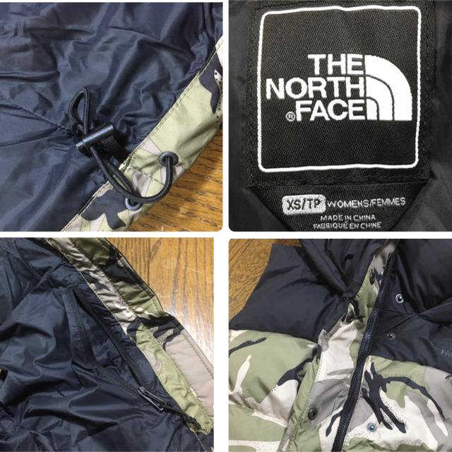 THE NORTH FACE(ザノースフェイス)のノースフェイス ダウンベスト XS 迷彩 カモフラ フード付き 新品未使用 レディースのジャケット/アウター(ダウンベスト)の商品写真
