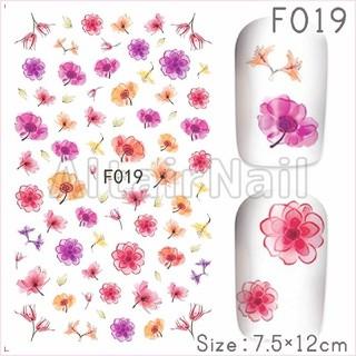 F019♢ネイルシール 花 フラワー 水彩 ピンク 赤(ネイル用品)