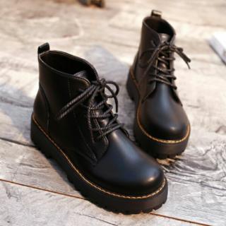 厚底 レディース イングランド風 厚底ブーツ   ブラック (ブーツ)