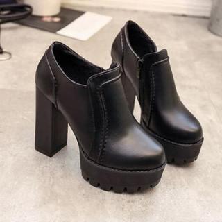 新作 韓国黒   秋冬 ハイヒール  ブーツ 革靴