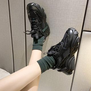 新作 ファッション  厚底 スニーカー  新品運動靴 ブラック  (スニーカー)