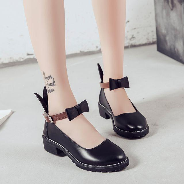 新作 ロリータ系 リボン うさぎ耳 シューズ   ブーツ 靴 黒   レディースの靴/シューズ(ローファー/革靴)の商品写真