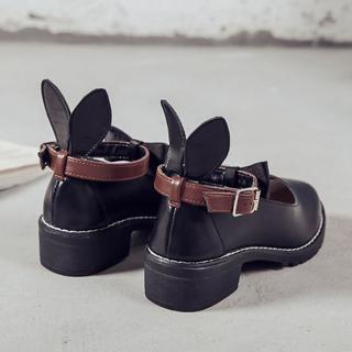 新作 ロリータ系 リボン うさぎ耳 シューズ   ブーツ 靴 黒