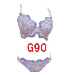 G90/3L・パープル◆刺繍レースブラジャー&ショーツ■大きいサイズ (ブラ&ショーツセット)