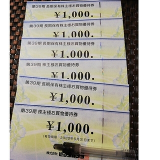 ビックカメラ 優待券 6,000円分、優待券2枚