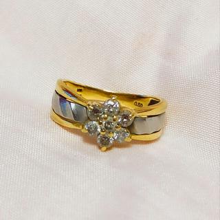 k18プラチナダイヤモンドリング フラワーモチーフダイヤ指輪11号