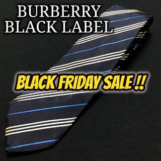 BURBERRY BLACK LABEL - バーバリーブラックレーベル レジメンタル ネイビー ネクタイ A101-N09