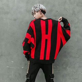 ✨新品✨大人気 ジャガードニット 赤バックロゴ XLサイズ(ニット/セーター)