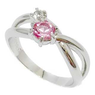 クリスタルをオフセット ピンキーリング シルバー925 ピンク 指輪(リング(指輪))