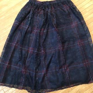 リュリュ(RyuRyu)のチェックプリントレースフレアスカート(ひざ丈スカート)