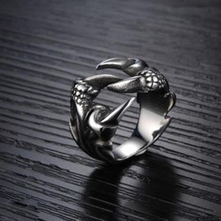 【大人気商品】特価高品質!メンズのステンレスリング(爪)  15、16号相当(リング(指輪))