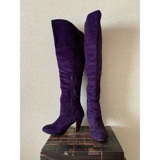 ニーハイブーツ ロングブーツ 紫 パープル スエード調(ブーツ)