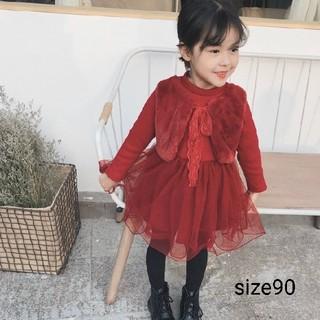 新品♡ファーベスト付 チュールワンピース♡赤 90(ワンピース)