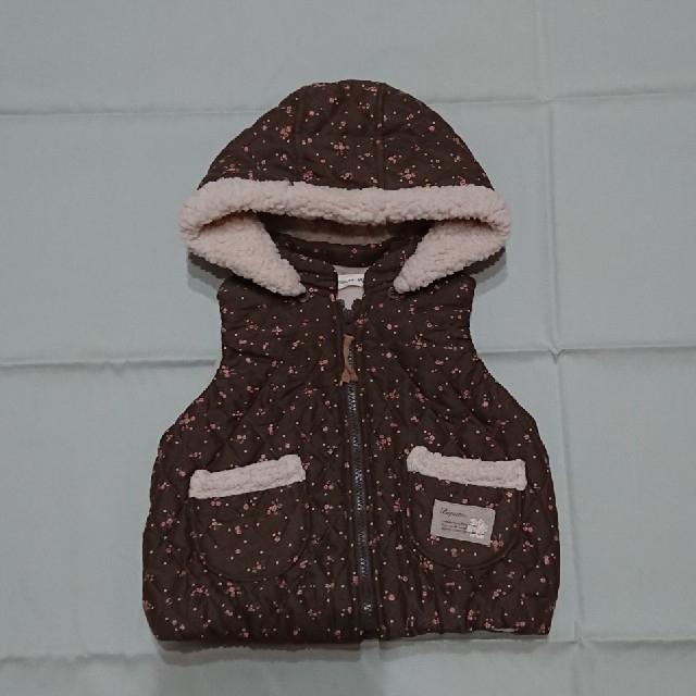Biquette(ビケット)のビケット90㎝花柄ベストジャケット防寒着女の子 キッズ/ベビー/マタニティのキッズ服女の子用(90cm~)(ジャケット/上着)の商品写真
