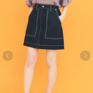 KBF - お値下げ!2018秋購入 KBF 配色ステッチ ブラック 黒 ミニスカート