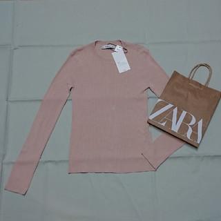 ザラ(ZARA)の新品ZARAザラ長袖リブニットくすみピンクML(ニット/セーター)