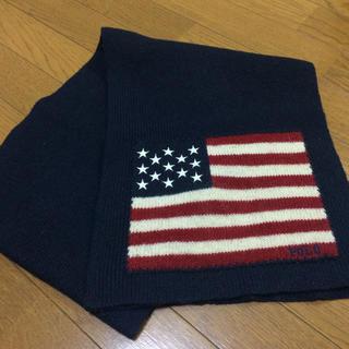 ポロラルフローレン(POLO RALPH LAUREN)のラルフローレン 国旗マフラー ネイビー ウール製(マフラー)