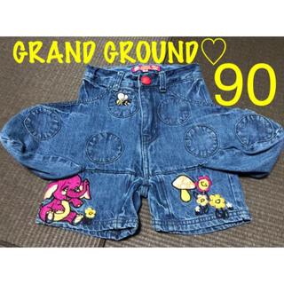 GrandGround - GRAND GROUND グラグラ♡デニムハーフパンツ きのこ型 90