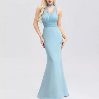綺麗なブルーなお色の エレガントなブルーのイブニングドレス♡(ロングドレス)