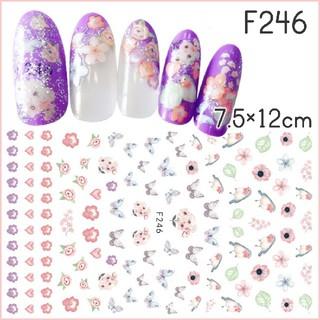F246♢ネイルシール 花 フラワー 和柄  鳥 蝶々 ピンク パステル(ネイル用品)
