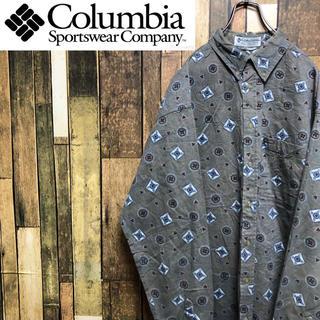 Columbia - 【激レア】コロンビア☆ロゴタグ入り小紋柄総柄ビッグシャツ