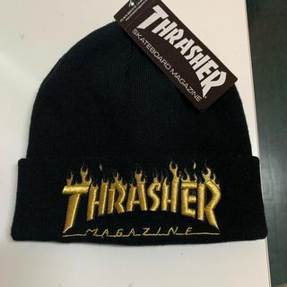 THRASHER - 新品 THRASHER  ニット帽 黒 ゴールド シンプル オシャレ
