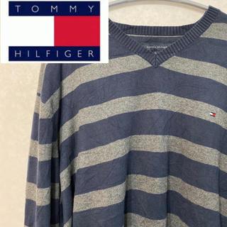 トミーヒルフィガー(TOMMY HILFIGER)のトミーフィルフィガー ニット セーター ボーダー ワンポイント 90s 90年代(ニット/セーター)